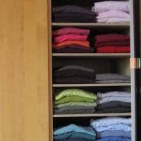 Les piles de T-shirts étaient croulantes?     Quelques planches ajoutées dans l'armoire et la surface de rangement est multipliée pour des piles plus petites et plus faciles à manipuler…     Le fin du fin? Triomphez (tris on fait) avec des dégradés!