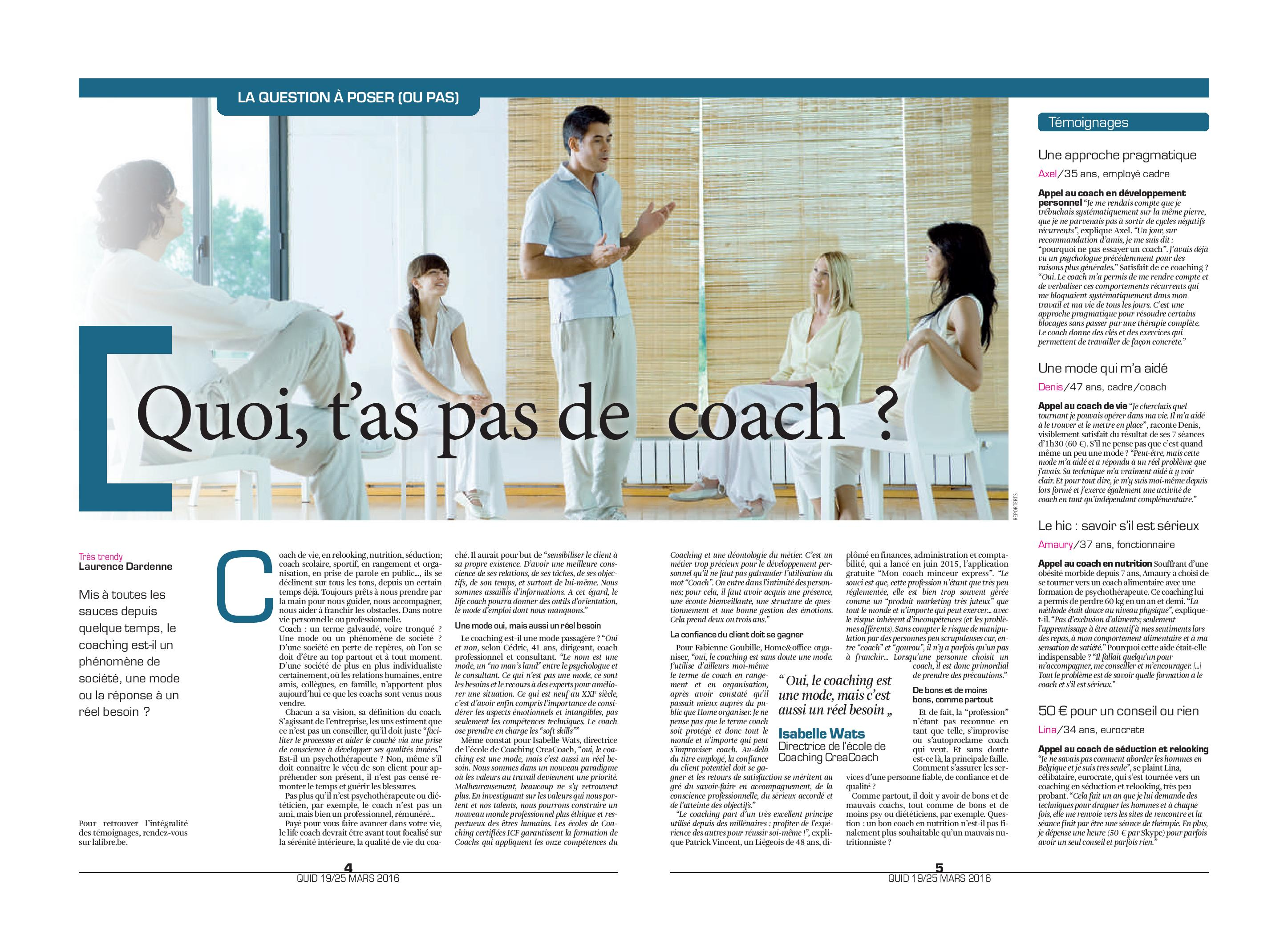 La Libre Belgique - Coaching - 2016 03 19 - Alors on range - page 1 de 2